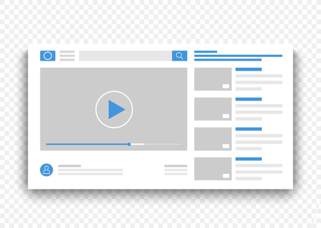 Browser video player blue interface window. Online movie on web site concept vector illustration. Illustration