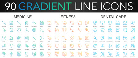 90 trendy gradient vector thin line icons set of medicine, fitness, dental care  イラスト・ベクター素材