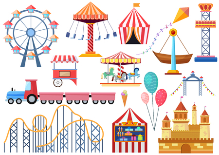 Amusement park vector entertainment icons elements isolated. Colorful cartoon flat ferris wheel, carousel, circus and castle isolated. Illustration