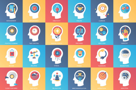 Imagination, brain features, emotions and mind power icon design concept. Icon for mobile and web graphics. Flat symbol, creative concept. Simple and clean flat pictogram