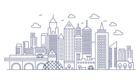 Thin line modern big city background. Urban cityscape with Skyscrapers vector illustration