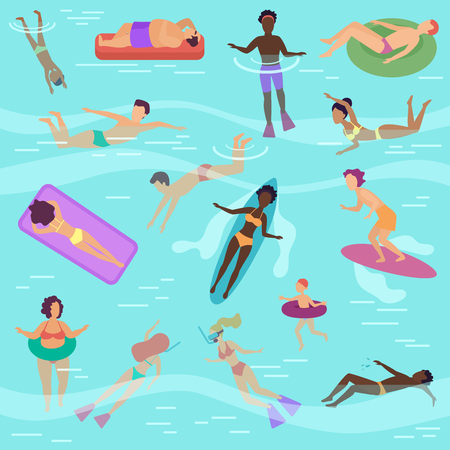 Cartoon vector people set in sea or ocean performing various activities. Male and female sunbathing, swimming, diving, surfing, lying on soft floating air mattress