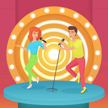 Couple, man and woman singing karaoke song with microphone standing on circle modern stage with lamps vector illustration