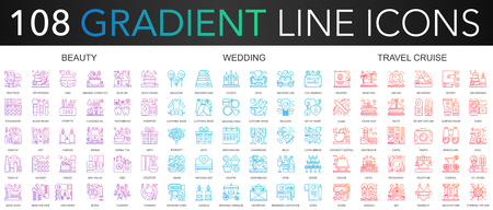 108 trendy gradient color complex thin line icons set of beauty, wedding, travel cruise vector illustration