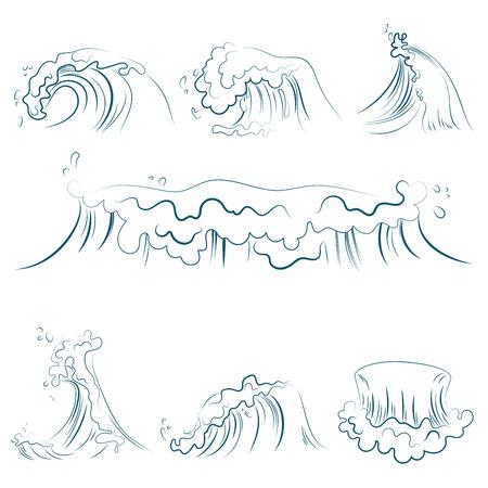 Hand drawn volumetric blue line sea waves vector set. Ocean storm wave isolated vector illustration Illustration
