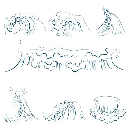 Hand drawn volumetric blue line sea waves vector set. Ocean storm wave isolated vector illustration. Stock Photo
