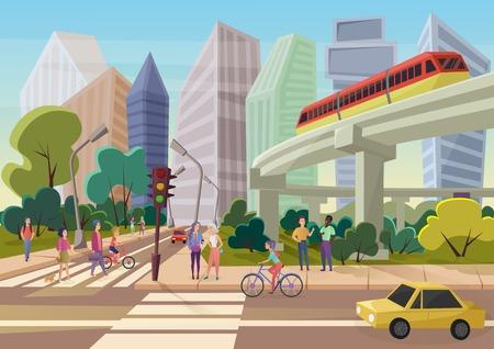 Moderne städtische Karikaturstadtstraße mit gehender Vektorillustration der jungen Leute walking