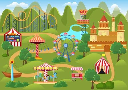 Amusement park concept landscape map with flat fairground elements, castle, mountains cartoon vector illustration. Illustration