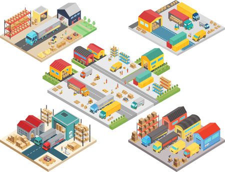 Warehouse isometric concept with workers, warehouse storage building, loading transport, delivery shipping boxes vector illustration