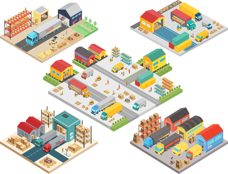 Warehouse isometric concept with workers, warehouse storage building, loading transport, delivery shipping boxes vector illustration.