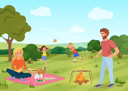 Happy youg family on a picnic in forest field. Father, mother, son and daughter are playing andresting in nature vector illustration. Stock Photo