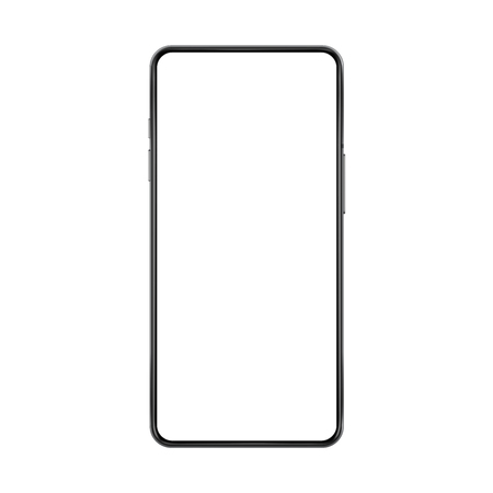 Frameless no frame realistic imagined smartphone mock up with blank white screen vector illustration. Stock Photo