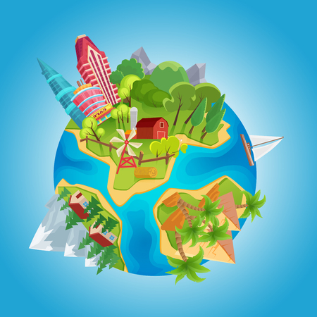 Cartoon cute planet concept. Planet globe with city buildings, farm windmills, mountains, ocean, houses and desert pyramids vector Illustration
