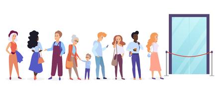 Personas de pie en la cola frente a las puertas de entrada de la tienda. Hombre y mujer de dibujos animados esperando cerca de boutique, tienda y sala de exposición abriendo ilustración vectorial