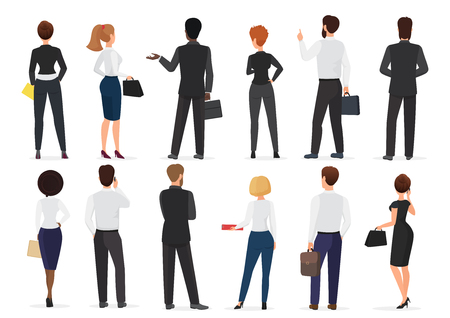 Back view of business office people group, man and woman characters standing together isolated vector illustration