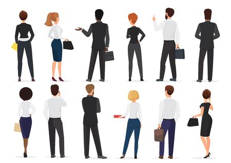 Vue arrière du groupe de personnes de bureau d'affaires, personnages homme et femme debout ensemble illustration vectorielle isolée Vecteurs
