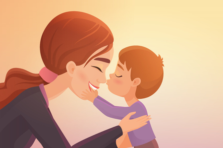 Cute little boy kisses his happy mother cartoon vector illustration Illustration