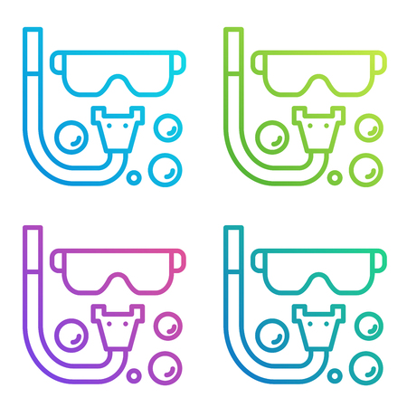Diving icon gradient line isolated on white. Illustration