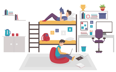 Dormitory room with two teen men brothers sharing bedroom. Friends males study home together flat vector illustration