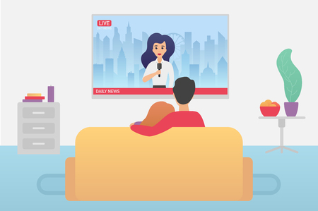 Couple family watching TV daily news program sitting on the couch at home in the living room flat vector iluustration