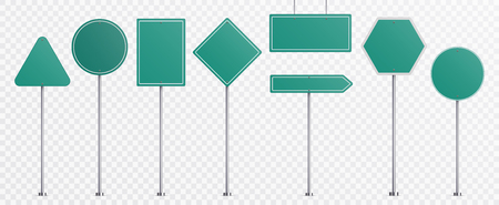 Realistic road signs. Green plate road direction signs templates set vector illustration Çizim