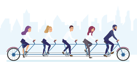 Group of office business people riding bicycle together. Tandem bicycle teamwork concept brvyot illustration