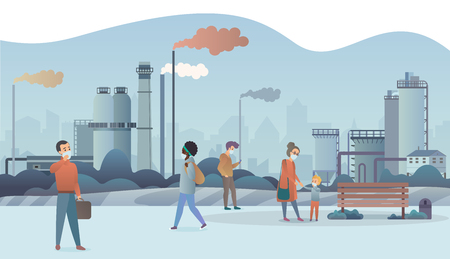 Sad and unhappy people wearing protective face masks and walking near factory pipes city with smoke on background. Industrial smog, fine dust, air pollution and pollutant fog gas vector illustration Ilustrace