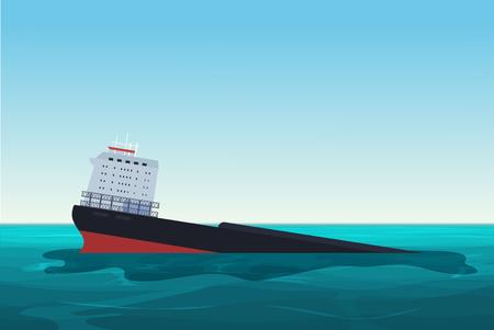 Wrecked oil tanker ship. Oil spill accident. Pollution Environment concept vector illustration. Ilustração Vetorial
