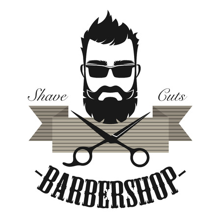 Barber shop vintage classic label badge emblem. Hipster antique gentleman logo vector illustration.