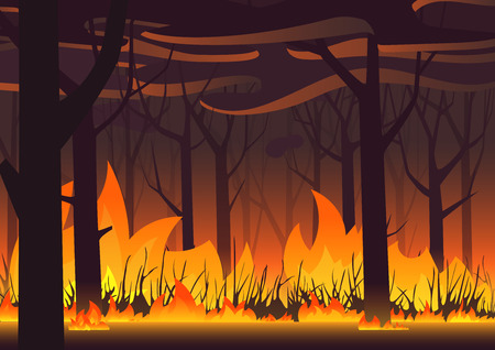 Woodland eco banner. Fire in forest. Wildfire landscape vector illustration