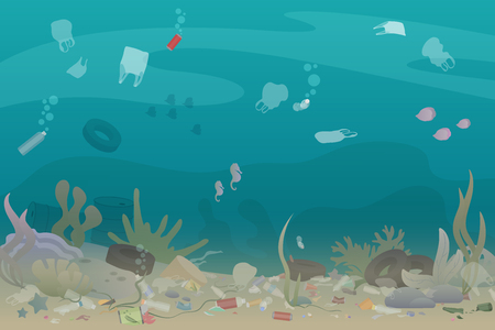 Plastic pollution trash under the sea with different kinds of garbage - plastic bottles, bags, wastes. Eco, water pollution concept. Garbage in the ocean flat vector illustration