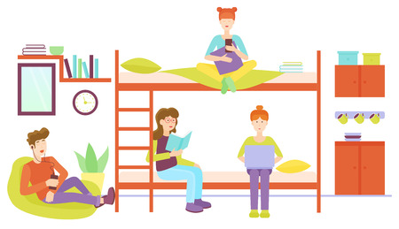 Dormitory room with man and three woman sharing bedroom. Friends studyng at home together flat vector illustration