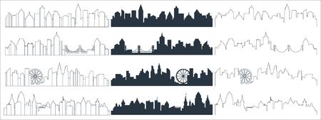 복잡한 선, 연속선 및 평평한 검은색 도시 스카이라인 실루엣. 고층 빌딩 배경 벡터 일러스트 레이 션 벡터 (일러스트)
