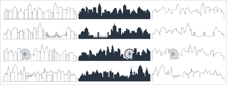 Complex line, continuous line and flat black city skyline silhouette. Skyscrapers background vector illustration Vetores