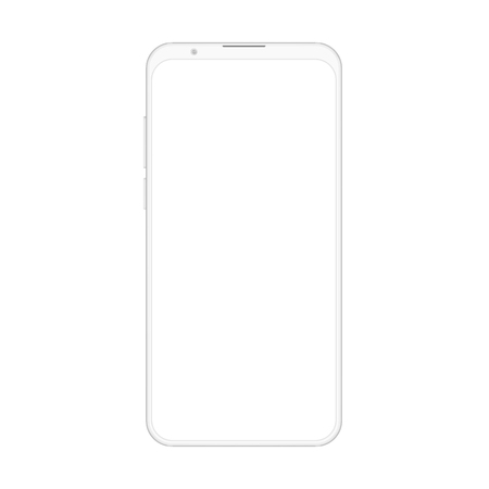 High quality realistic new version of soft clean white frameless smartphone with blank white screen. Realistic vector mockup no frame phone for visual ui, commercial app demonstration
