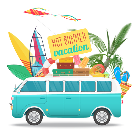 Summer travel vector illustration with vintage bus. Beach concept logo. Summer tourism, travel, trip and surfer