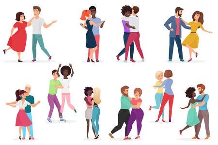 Male and female pairs of dancers. Men and women couple performing dance at school, studio. Group of young happy dancing people. People dance party vector illustration