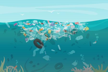 Plastic vervuiling afval onder water zee met verschillende soorten afval - plastic flessen, tassen, afval dat in water drijft. Zee oceaan water vervuiling concept vectorillustratie