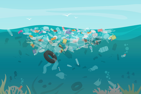 Plastic pollution trash underwater sea with different kinds of garbage - plastic bottles, bags, wastes floating in water. Sea ocean water pollution concept vector illustration