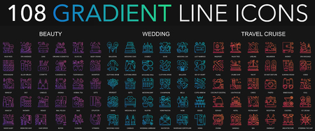 108 trendy gradient style thin line icons set of beauty, wedding, travel cruise isolated on black background.