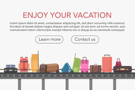 Transportband in de bagagehal van de luchthaven. Bagage claim vectorillustratie
