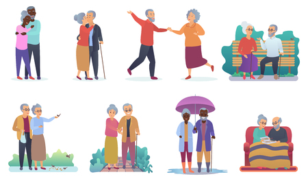 Active lifestyle old grandparents. Elderly people characters. Cartoon seniors family activities isolated vector illustration
