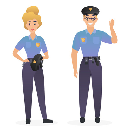 Two smiling cute police officers, man and woman isolated vector illustration