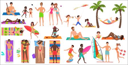 Summer beach cartoon relaxing people activities set vector illustration
