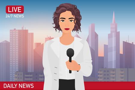 La donna abbastanza bella del giornalista riporta le ultime notizie. Illustrazione di vettore di concetto di notizie di media TV.
