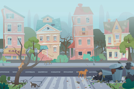 Dirty foggy street with garbage around. Empty city with worn, broken and dirty buildings, waste, full dustbins with cats and dogs. Unfavorable abandoned residential area vector illustration