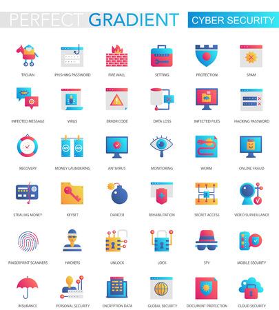 Vector set of trendy flat gradient Cyber security icons. Vektoros illusztráció