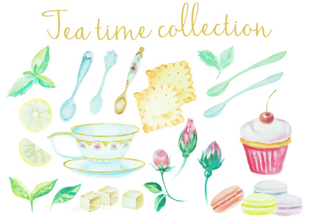 Tea time. Vintage watercolor doodle pots, cups flowers, cookies and cakes high detail collection. Watercolor set of dishes for restaurant set, watercolor drawing graphic.