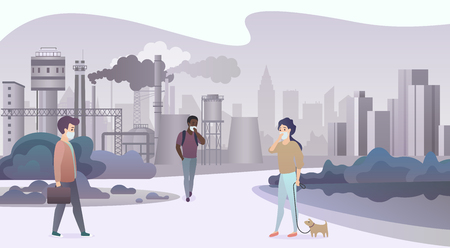 Unhappy sad people wearing protective face masks and walking near depressive factory pipes city with smoke on background. Industrial smog, air pollution and pollutant fog gas vector illustration