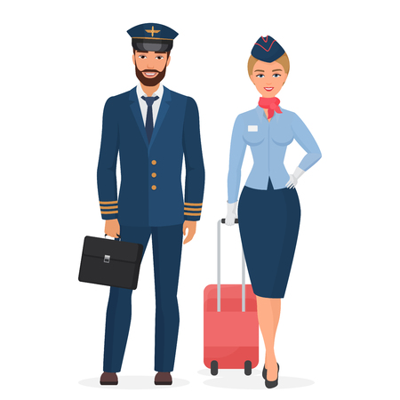 Pilot and stewardess in uniform isolated flat vector illustration 矢量图像